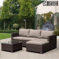 Угловой диван из 2 элементов коричневый со столиком