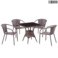 Комплект мебели из иск. ротанга T197BNS/Y137C-W51 Brown (4+1)