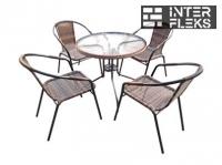 Комплект мебели Николь-1B TLH-037B/087B-D80 Brown (4+1)