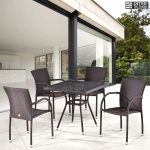 Комплект мебели из иск. ротанга T283BNT-W2390/Y282A-W52 Brown (4+1)