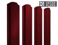 Металлический штакетник GL прямоугольный фигурный RAL 3005 красное вино