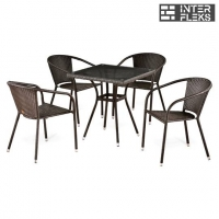Комплект мебели из иск. ротанга T283BNT-W2390/Y137C-W51 Brown (4+1)