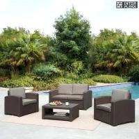 Комплект для отдыха темно-коричневый с подушками