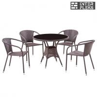 Комплект мебели из иск. ротанга T197ANS/Y137C-W51 Brown (4+1)