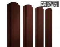 Металлический штакетник GL прямоугольный фигурный RR 32 темно-коричневый