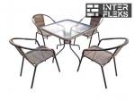 Комплект мебели Николь-2B TLH-037B/073B-80х80 Brown (4+1)